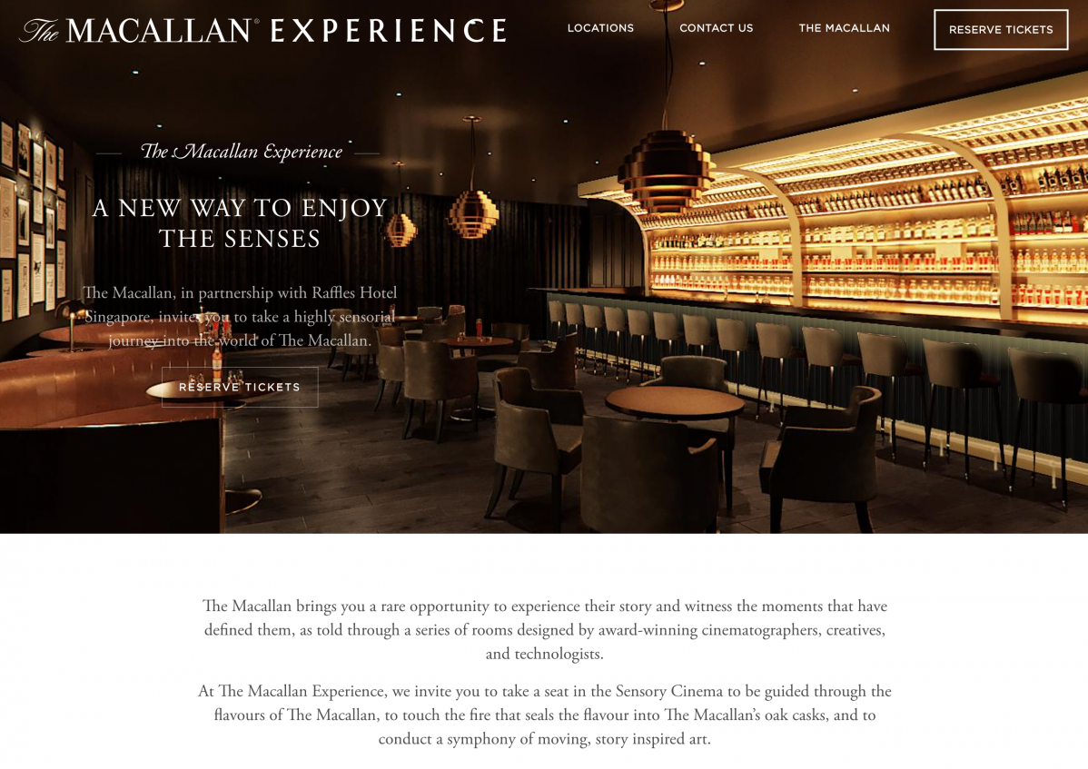 The Macallan Experience - Microsite landing page
