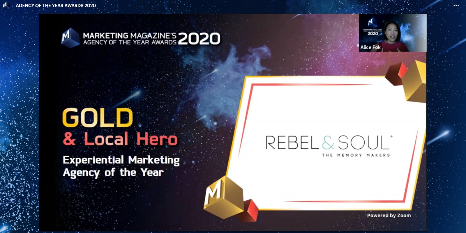Marketing Magazine - Rebel & Soul - GOLD - 2020 Experiential Marketing Agency of the Year