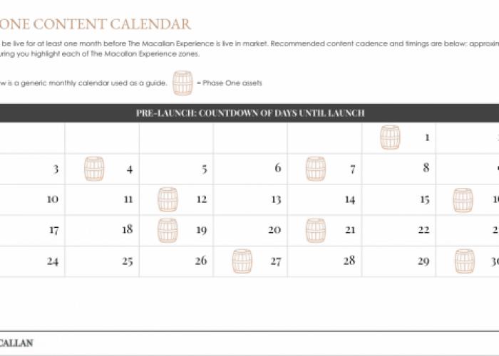 The Macallan Experience - Regional Marketing Toolkit, Content Calendar