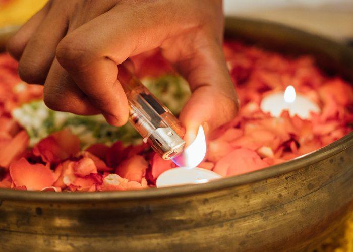 Lighting candle diwali